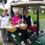 Vice Capt Valli Kemp with Lesley Oloughlin and Von Braybon food cart beauties